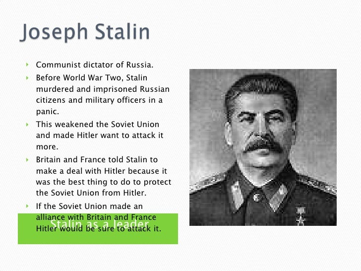 joseph stalin wwii essay Joseph stalin was the leader of soviet russia from the mid-1920s to his death in 1953 though hitler and stalin never met or even spoke on the telephone, their lives.