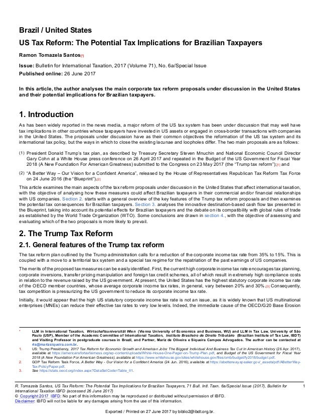 Us Tax Reform The Potential Tax Implications For Brazilian Taxpayers