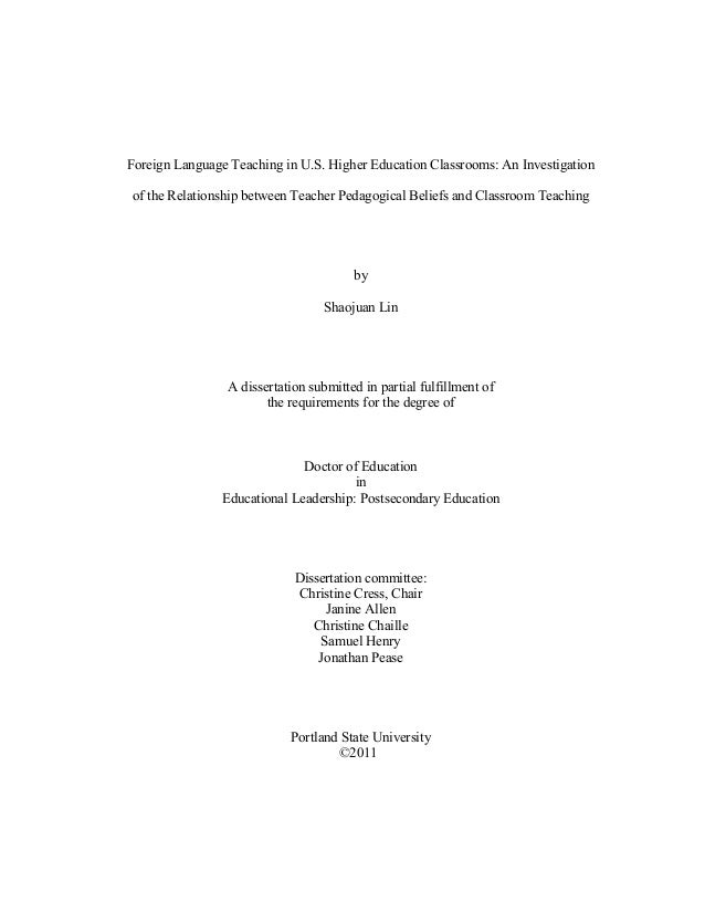 Foreign Language Teaching in U.S. Higher Education Classrooms: An Investigation of the Relationship between Teacher Pedago...