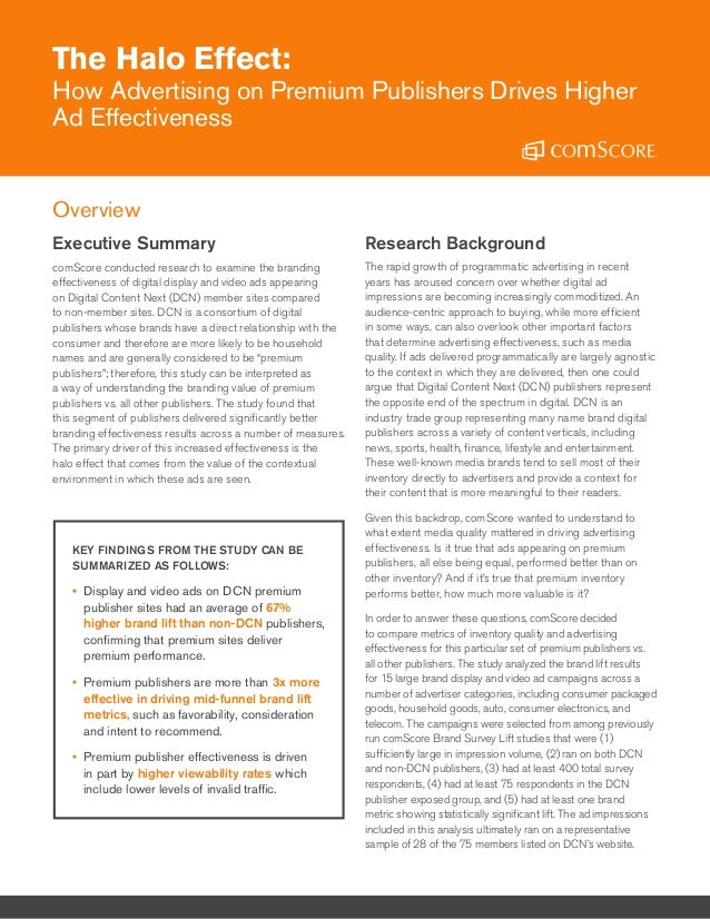 KEY FINDINGS FROM THE STUDY CAN BE SUMMARIZED AS FOLLOWS: •• Display and video ads on DCN premium publisher sites had an a...