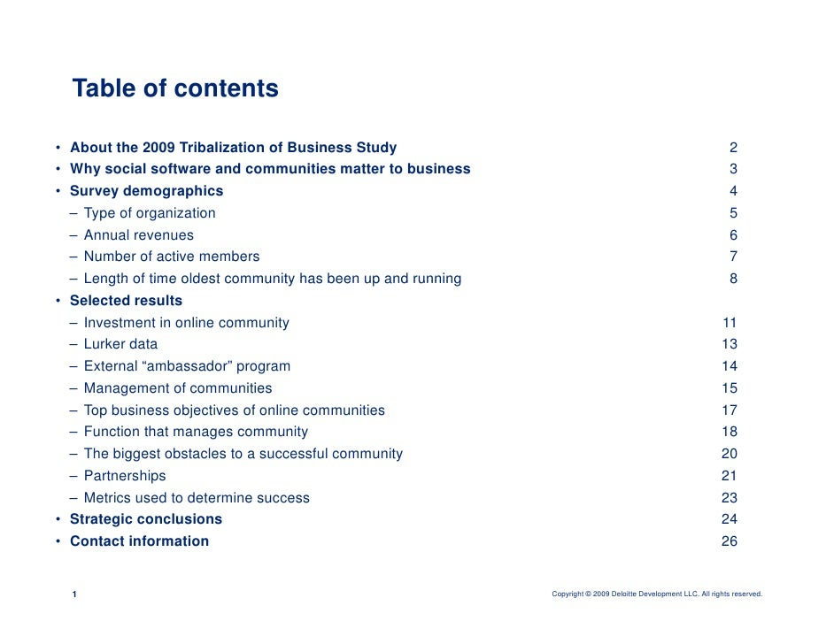 Table of contents  • About the 2009 Tribalization of Business Study                                                       ...