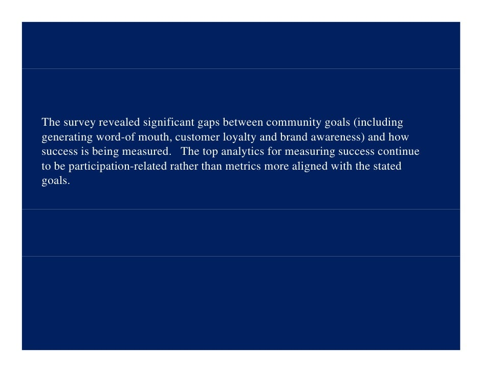 The survey revealed significant gaps between community goals (including generating word-of mouth, customer loyalty and bra...