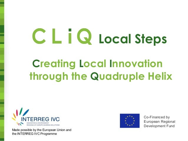 Co-Financed by European Regional Development Fund Made possible by the European Union and the INTERREG IVC Programme Creat...