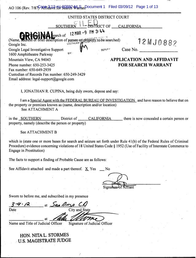 Case 3:12-mj-00882-NLS Document 1 Filed 03/09/12 Page 1 of 13