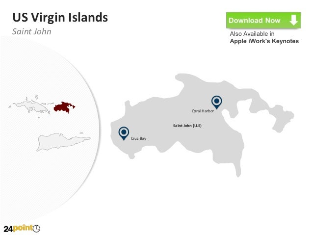 United States Virgin Islands Map Editable PowerPoint Map - Powerpoint map of us