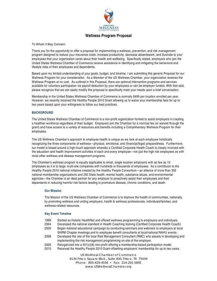 2010 Us Wellness Chamber Of Commerce Proposal