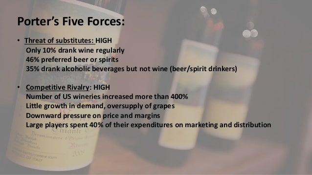 spirits industry porter s five forces With the help of the porter's five forces model, it will be easier to comprehend the particulars of hotel industry and realize the solution that was devised to survive the recession as porter says.