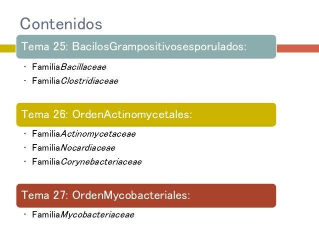 Contenidos Tema 25: BacilosGrampositivosesporulados: • FamiliaBacillaceae • FamiliaClostridiaceae Tema 26: OrdenActinomyce...