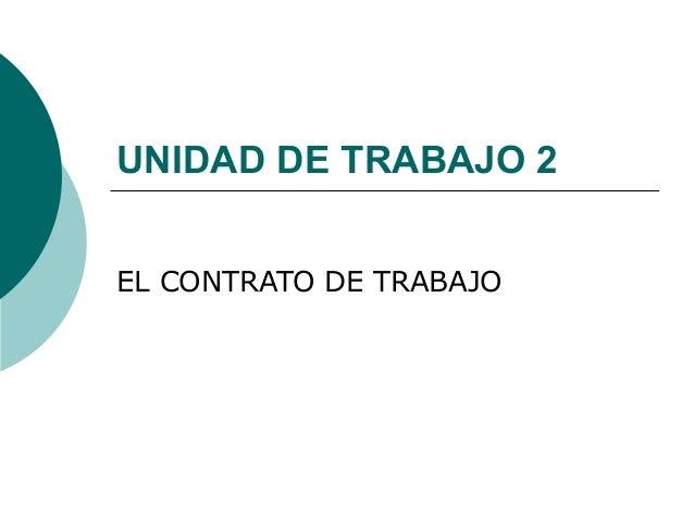 UNIDAD DE TRABAJO 2 EL CONTRATO DE TRABAJO