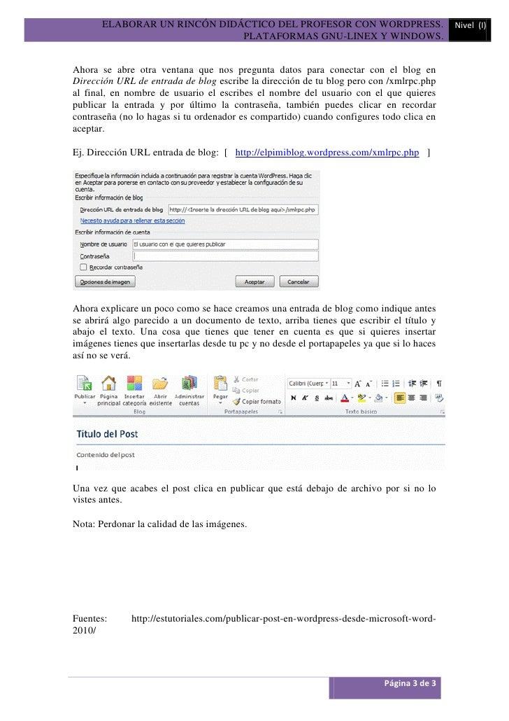 ELABORAR UN RINCÓN DIDÁCTICO DEL PROFESOR CON WORDPRESS.                             Nivel (I)                            ...