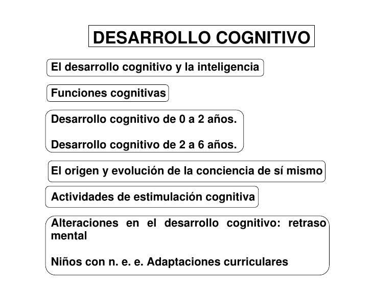 DESARROLLO COGNITIVO El desarrollo cognitivo y la inteligencia  Funciones cognitivas  Desarrollo cognitivo de 0 a 2 años. ...