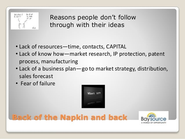 Launching a New Product - Back of the Napkin and Back Slide 3