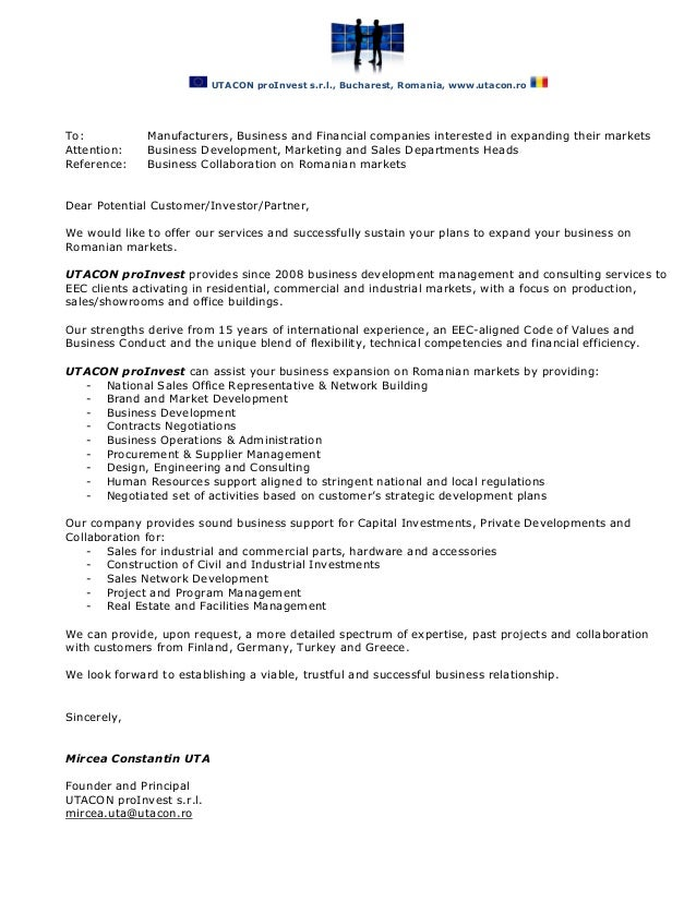 Utacon proinvest business collaboration letter utacon proinvest business collaboration letter utacon proinvest srl bucharest romania utacon to manufacturers spiritdancerdesigns