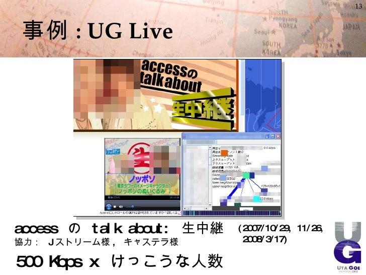 13     事例 : UG Live     a c c es s の t a l k a bout : 生中継   ( 2007/10/29, 11/26, 協力: J ストリーム様 , キャステラ様                 200...