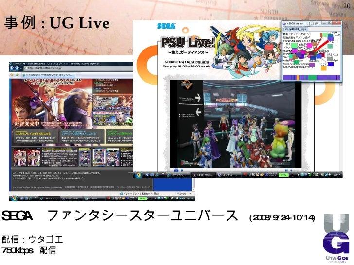 20  事例 : UG Live     SEGA   ファンタシースターユニバース   ( 2008/9/24- 10/14)  配信:ウタゴエ 750kbps 配信