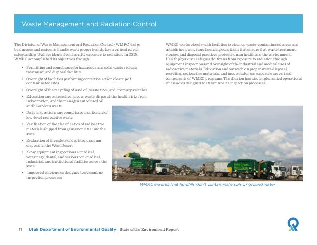 Utah Department of Environmental Quality   State of the Environment Report11 The Division of Waste Management and Radiatio...