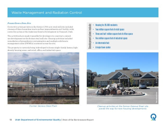 Utah Department of Environmental Quality   State of the Environment Report13 Former Geneva Steel Site Corrective action pe...
