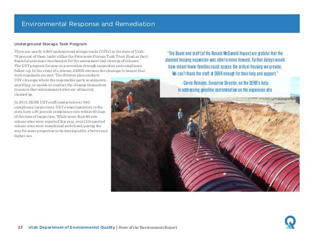 Utah Department of Environmental Quality   State of the Environment Report23 Underground Storage Tank Program There are ne...