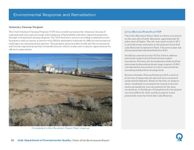 Utah Department of Environmental Quality   State of the Environment Report25 Voluntary Cleanup Program The Utah Voluntary ...