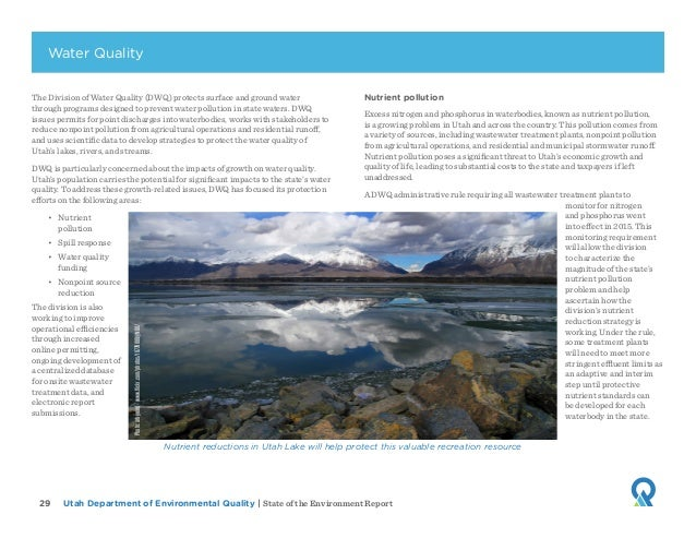 Utah Department of Environmental Quality   State of the Environment Report29 The Division of Water Quality (DWQ) protects ...