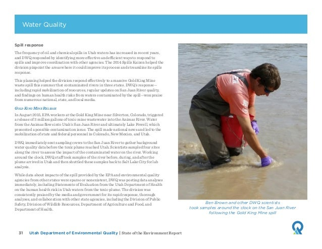 Utah Department of Environmental Quality   State of the Environment Report31 Spill response The frequency of oil and chemi...