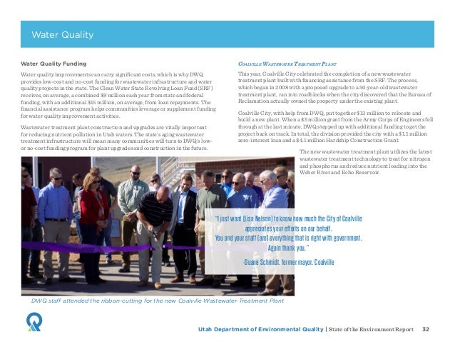 Utah Department of Environmental Quality   State of the Environment Report 32 Water Quality Funding Water quality improvem...