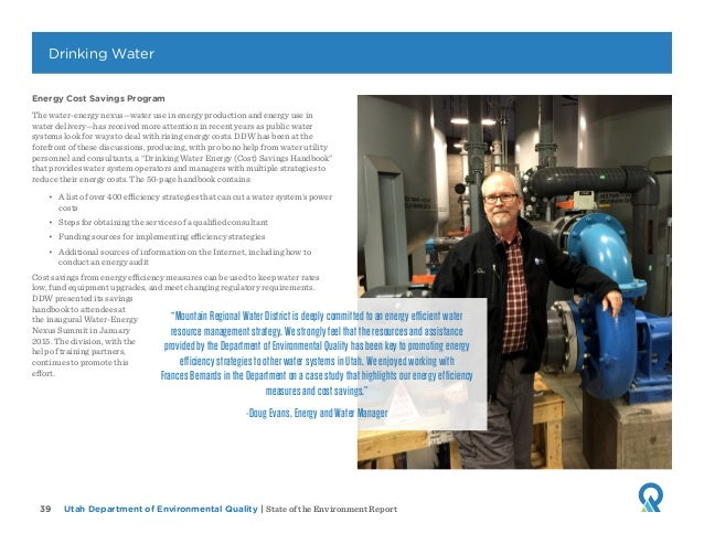 Utah Department of Environmental Quality   State of the Environment Report39 Energy Cost Savings Program The water-energy ...