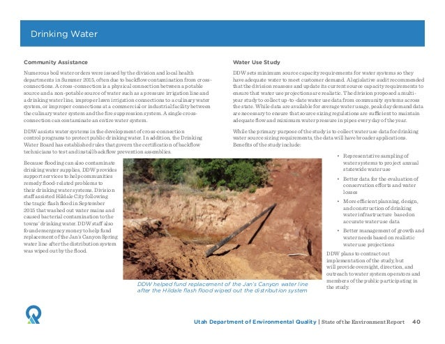 Utah Department of Environmental Quality   State of the Environment Report 40 Community Assistance Numerous boil water ord...
