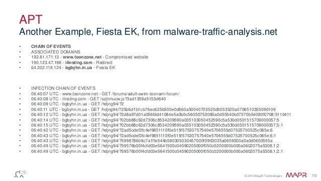 © 2014 MapR Technologies 10 APT • CHAIN OF EVENTS • ASSOCIATED DOMAINS • 192.81.171.13 - www.toonzone.net - Compromised we...