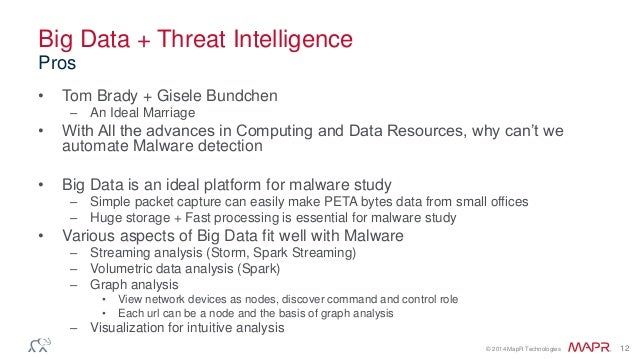 © 2014 MapR Technologies 12 Big Data + Threat Intelligence • Tom Brady + Gisele Bundchen – An Ideal Marriage • With All th...