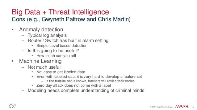 © 2014 MapR Technologies 13 Big Data + Threat Intelligence • Anomaly detection – Typical log analysis – Router / Switch ha...