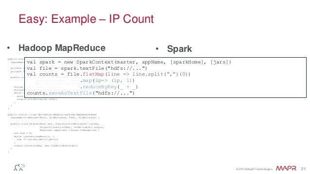 © 2014 MapR Technologies 21 Easy: Example – IP Count • Spark public static class WordCountMapClass extends MapReduceBase i...