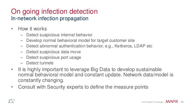 © 2014 MapR Technologies 32 On going infection detection • How it works – Detect suspicious internal behavior – Develop no...