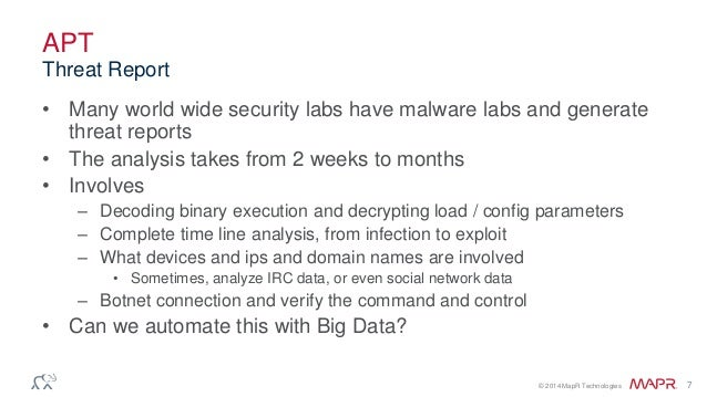 © 2014 MapR Technologies 7 APT • Many world wide security labs have malware labs and generate threat reports • The analysi...