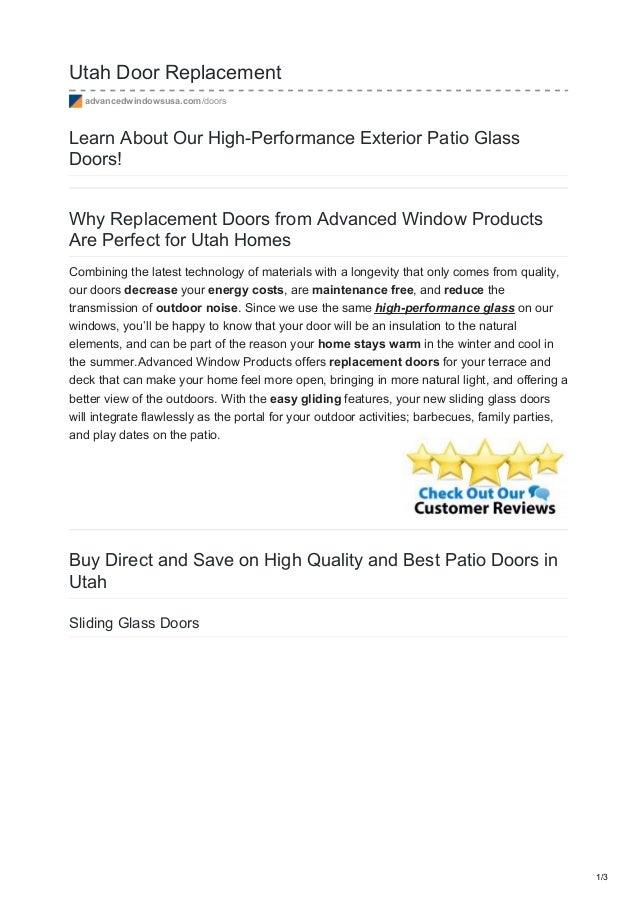 Utah Door Replacement Advancedwindowsusa.com/doors Learn About Our  High Performance Exterior Patio ...