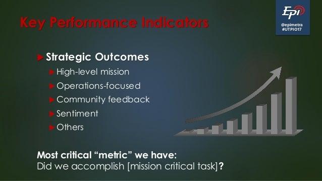 @epimetra #UTPIO17 Key Performance Indicators  Strategic Outcomes  High-level mission  Operations-focused  Community f...