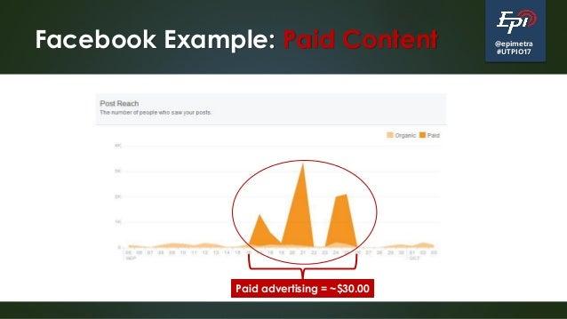 @epimetra #UTPIO17 Facebook Example: Paid Content Paid advertising = ~$30.00
