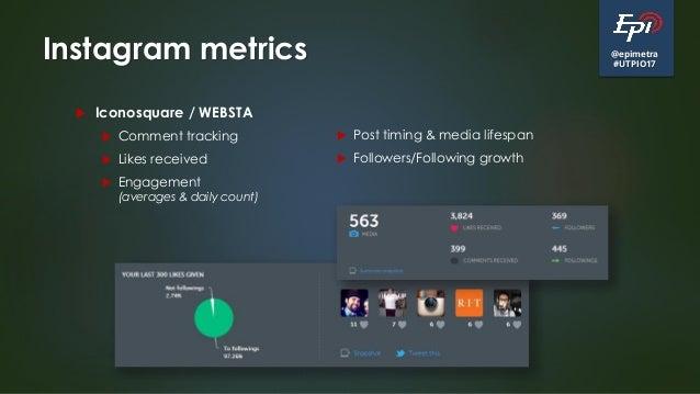 @epimetra #UTPIO17 Instagram metrics  Iconosquare / WEBSTA  Comment tracking  Likes received  Engagement (averages & d...