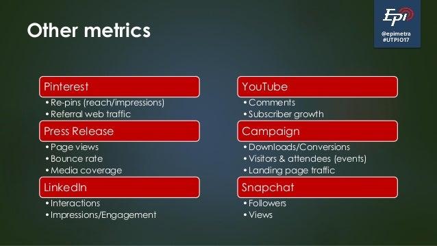 @epimetra #UTPIO17 Other metrics Pinterest •Re-pins (reach/impressions) •Referral web traffic Press Release •Page views •B...
