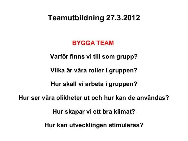 Teamutbildning 27.3.2012                 BYGGA TEAM          Varför finns vi till som grupp?          Vilka är våra roller...