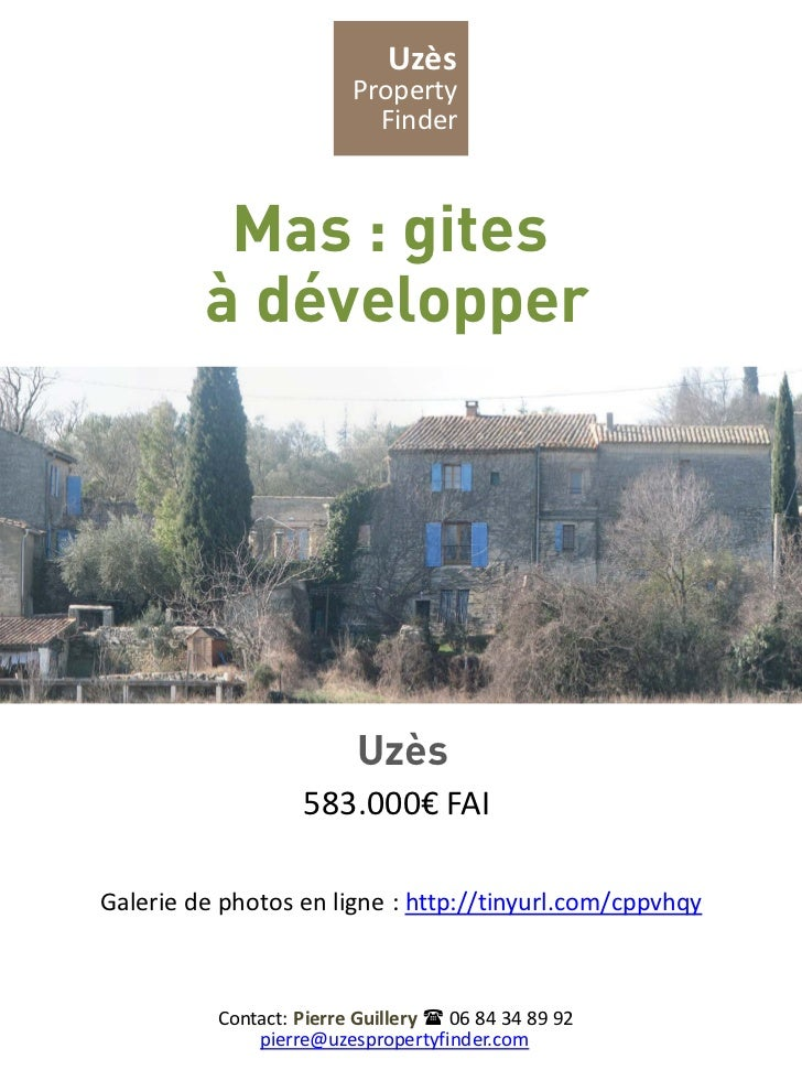 Uzès                         Property                           Finder          Mas : gites         à développer          ...