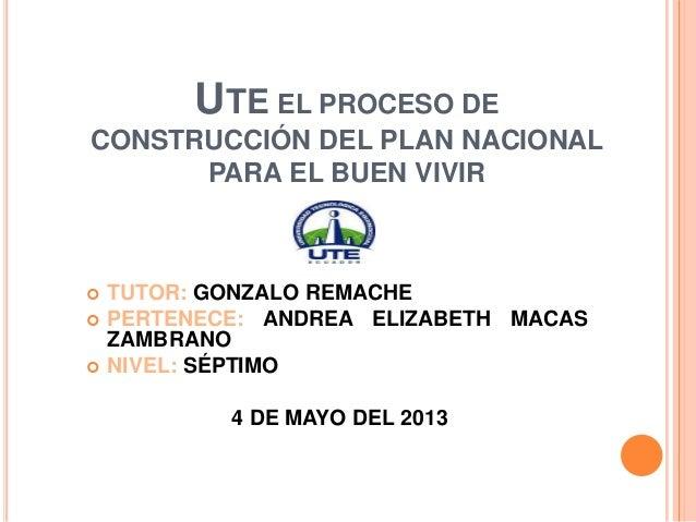 UTE EL PROCESO DECONSTRUCCIÓN DEL PLAN NACIONALPARA EL BUEN VIVIR TUTOR: GONZALO REMACHE PERTENECE: ANDREA ELIZABETH MAC...