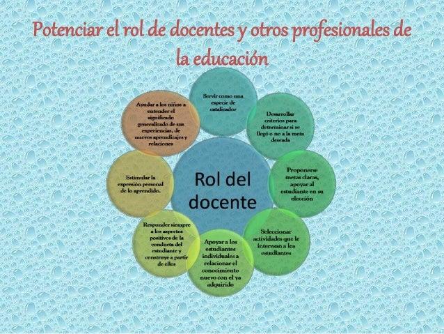 Potenciar el rol de docentes y otros profesionales de  la educación