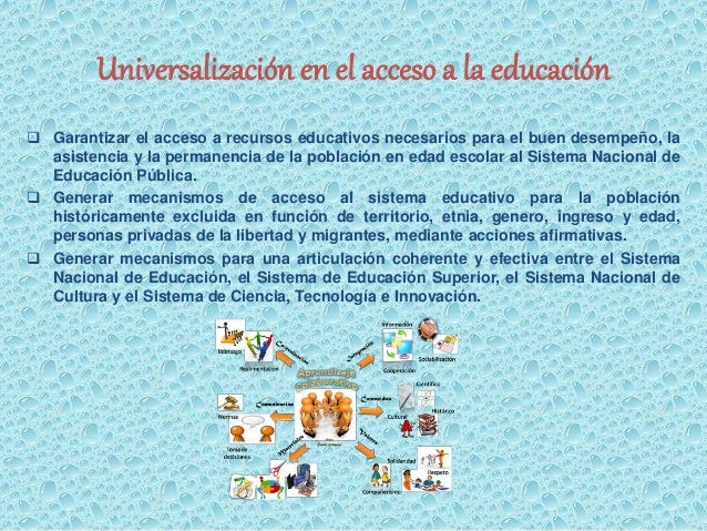 Universalización en el acceso a la educación   Garantizar el acceso a recursos educativos necesarios para el buen desempe...