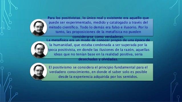 Para los positivistas, lo único real y existente era aquello que puede ser experimentado, medido y catalogado a través del...