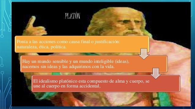 PLATÓN Ponía a las acciones como causa final o justificación: naturaleza, ética, política. Hay un mundo sensible y un mund...