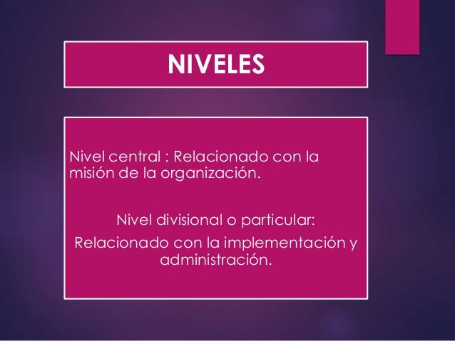 NIVELES Nivel central : Relacionado con la misión de la organización. Nivel divisional o particular: Relacionado con la im...