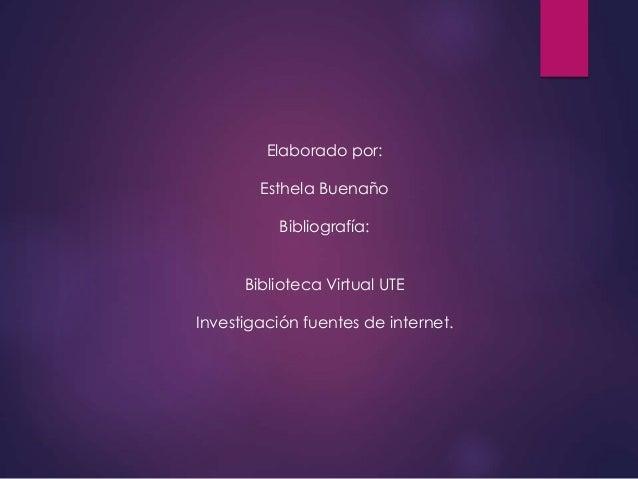 Elaborado por: Esthela Buenaño Bibliografía: Biblioteca Virtual UTE Investigación fuentes de internet.