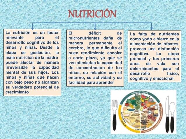 NUTRICIÓN  La nutrición es un factor  relevante para el  desarrollo cognitivo de los  niños y niñas. Desde la  etapa de ge...