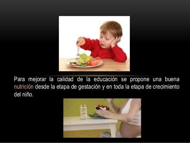 Para mejorar la calidad de la educación se propone una buena nutrición desde la etapa de gestación y en toda la etapa de c...
